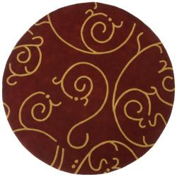 Hand-Tufted Burgundy Archer Round Wool Rug (6' x 6')