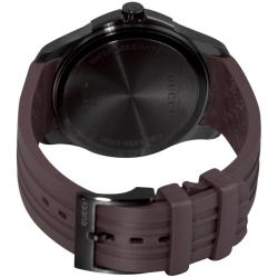 Gucci Men's 'G-Timeless' Black PVD Brown Rubber Strap Watch