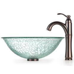 Kraus Broken Glass Vessel Sink and Rivera Bathroom Faucet