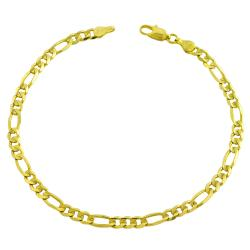 14k Yellow Gold Solid 8-inch Figaro Bracelet