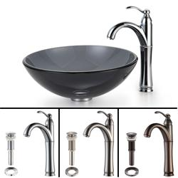 Kraus Black Clear Glass Vessel Sink and Rivera Bathroom Faucet