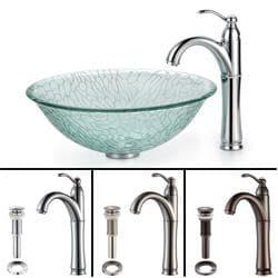 Kraus Broken Glass Vessel Sink and Rivera Bathroom Faucet