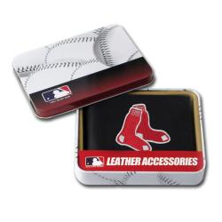 Boston Red Sox Men's Black Leather Bi-fold Wallet
