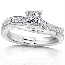 14k White Gold 1/2ct TDW Diamond Bridal Ring Set (H-I, I1-I2)