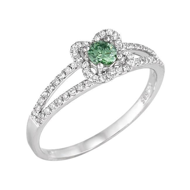 14k White Gold 2/5ct TDW Green and White Diamond Ring (G-H, SI1-SI2)