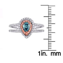 14k Two-tone Gold 3/4ct TDW Blue and White Diamond Ring (G-H, SI1-SI2)