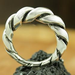 Sterling Silver Antiqued Cable Ring (Mexico)