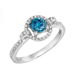 14k Gold 3/4ct TDW Blue and White Clarity-enhanced Diamond Halo Ring (G-H, SI1-SI2)