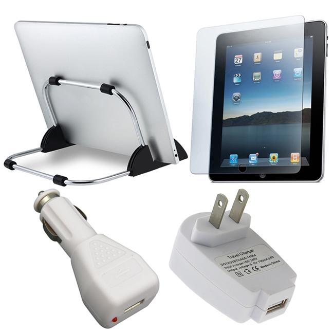 White 4-piece Stand/ Screen/ Protector/ Charger for Apple iPad