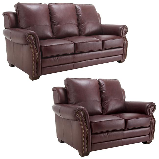 Westport burgundy italian leather sofa and loveseat 13269049 shopping great Burgundy leather loveseat
