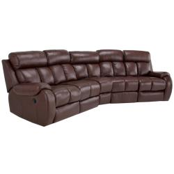 Grandview Brown Italian Leather Reclining Theater Sectional Sofa