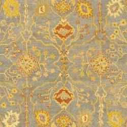 Handmade Oushak Slate Blue/ Ivory Wool Rug (6' x 9')