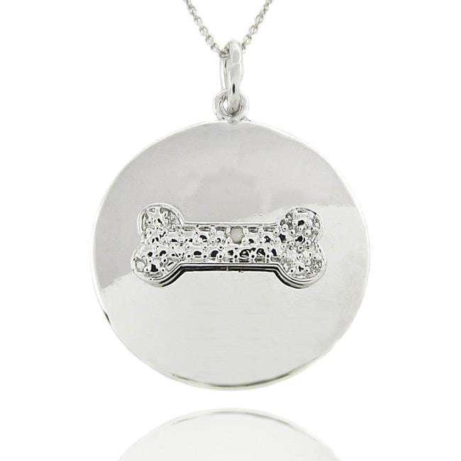Sterling Silver Diamond Accent Dog Bone Disc Necklace
