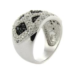 Sterling Silver 1/4ct TDW Black and White Diamond 'X' Ring (I-J,I2-I3)