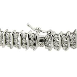 Sterling Silver 1/2 ct TDW Diamond 3-row 'S'-link Bracelet