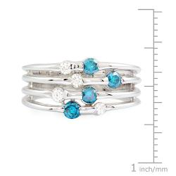 14k White Gold 1/2ct TDW Blue and White Diamond Ring (G-H, SI1)