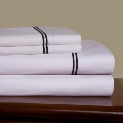 Embroidered Percale 300 Thread Count Combed Cotton Sheet Set