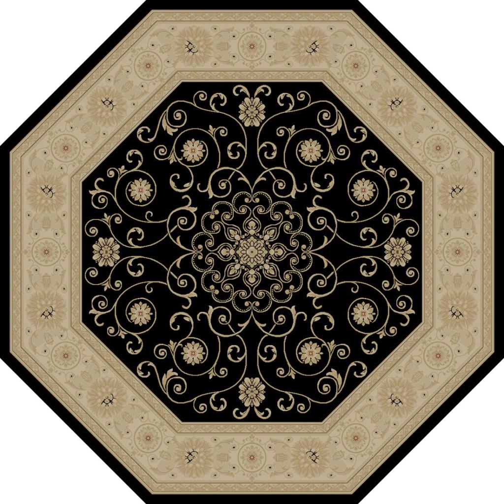 Kingston Oriental Black Rug (5'3 Octagon)