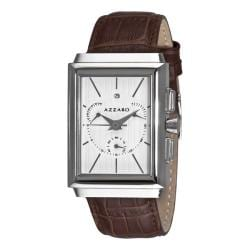 Azzaro Men's 'Legend Rectangular Chrono' Brown Strap Retrograde Watch