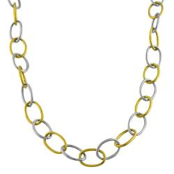 Fremada 14k Two-tone Gold Polished Oval Link Necklace