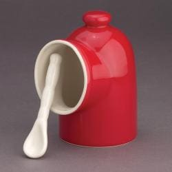 Red Porcelain 2-piece Salt Cellar
