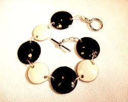 My Three Metals Black and White Enameled Copper Bracelet