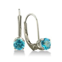 14k White Gold Blue Topaz Leverback Earrings