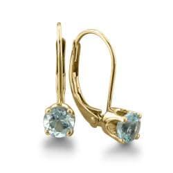 14k Yellow Gold Aquamarine Leverback Earrings