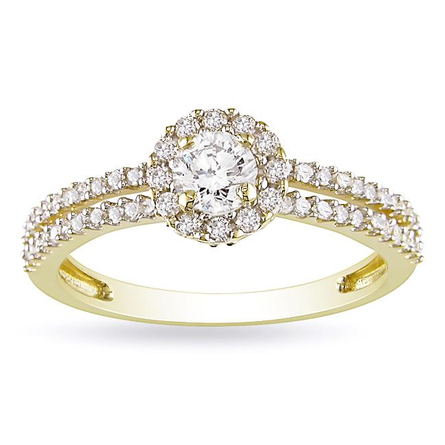 14k Yellow Gold 3/4ct TDW Diamond Halo Ring (G-H, I1-I2)