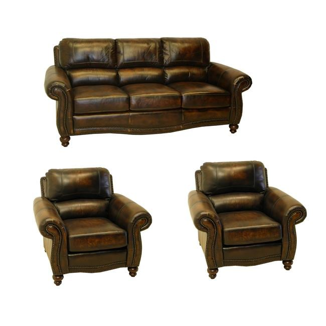 England Brown Hand Rubbed Italian Leather Sofa And Two