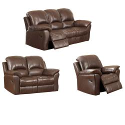 Carnegie Cocoa Leather Reclining Sofa. Loveseat and Reclining Chair