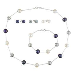 Silver Multi-colored Freshwater Pearl 5-piece Set (8-10 mm)