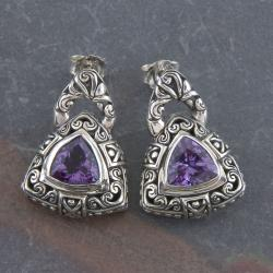 Sterling Silver Amethyst 'Cawi' Triangle Dangle Earrings (Indonesia)