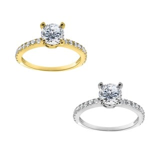 14k Yellow or White Solid Gold 1 1/4 ct TGW Round-Cut Cubic Zirconia Pave Engagement Ring