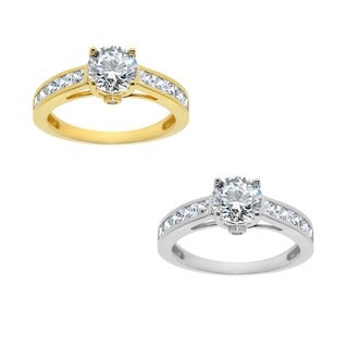 14k Yellow or White Solid Gold 1 1/4ct TGW Round Cubic Zirconia Channel Engagement Ring