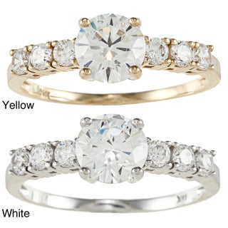 14k Yellow or White Solid Gold 1 1/4ct TGW Round Cubic Zirconia 7-Stone Engagement Ring