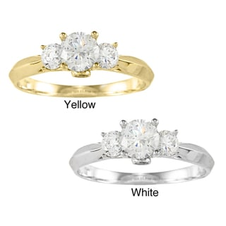 14k Yellow or White Gold 7/8ct TGW Round Cubic Zirconia 3-stone Engagement Ring
