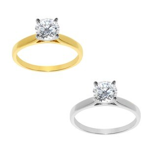 14k Yellow or White Solid Gold 1ct Round Cubic Zirconia Smooth Solitaire Ring