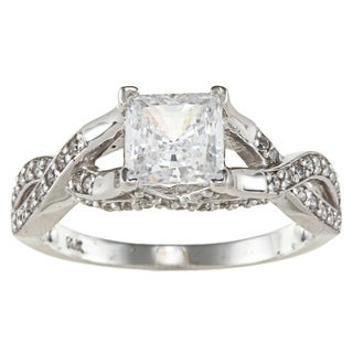 14k White Solid Gold 1 1/2ct TGW Princess-Cut Cubic Zirconia Knot Ring