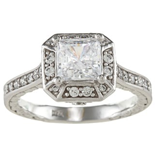 14k White Solid Gold 1 3/4ct Princess-cut Cubic Zirconia Halo Engraved Ring