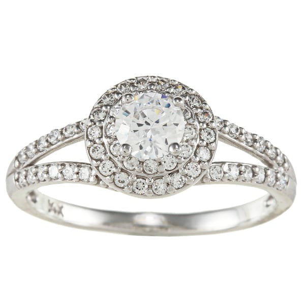 14k White Solid Gold 1ct Round Cubic Zirconia Halo Ring