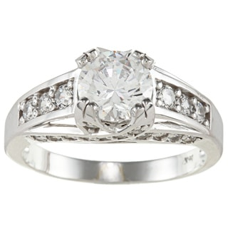 14k White Solid Gold 2 1/2ct TGW Round-cut Cubic Zirconia Cocktail Ring