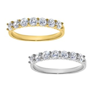 14k Yellow or White Solid Gold 1 1/10ct TGW Round-cut Cubic Zirconia Wedding Band