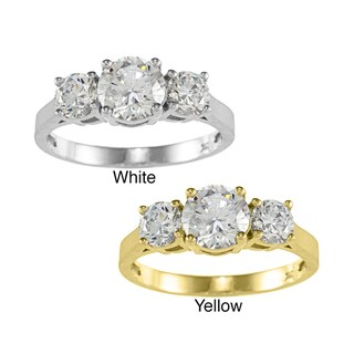 14k Yellow or White Gold 1 3/4ct TGW Round Cubic Zirconia 3-Stone Ring