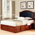 Duet Platform Queen Black Leather Inset Bed