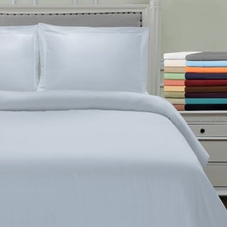 Simple Elegance Solid Microfiber 3-piece Duvet Cover Set