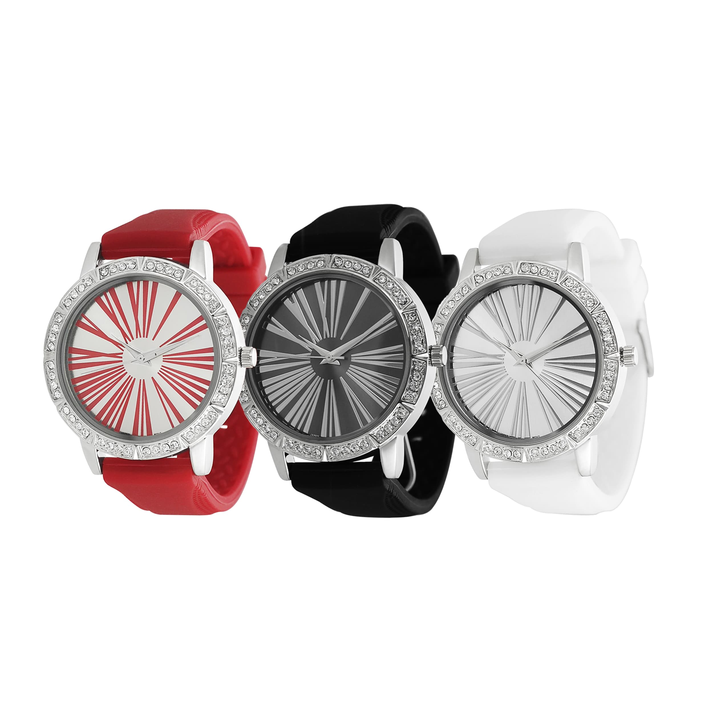 Geneva Platinum Women's Rhinestone Roman Numeral Silicone Watch