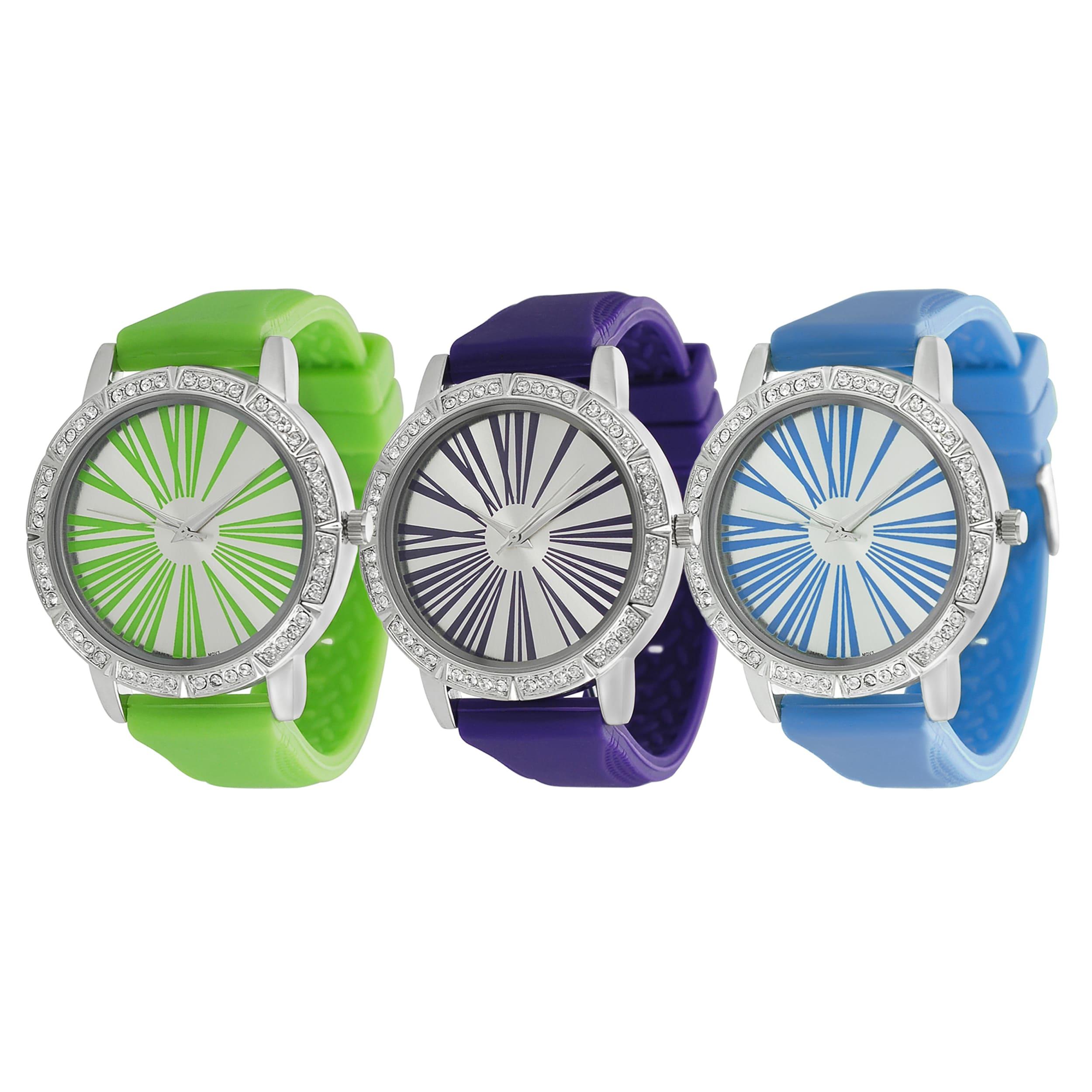 Geneva Platinum Women's Water-Resistant Rhinestone Roman Numeral Neon Silicone Watch
