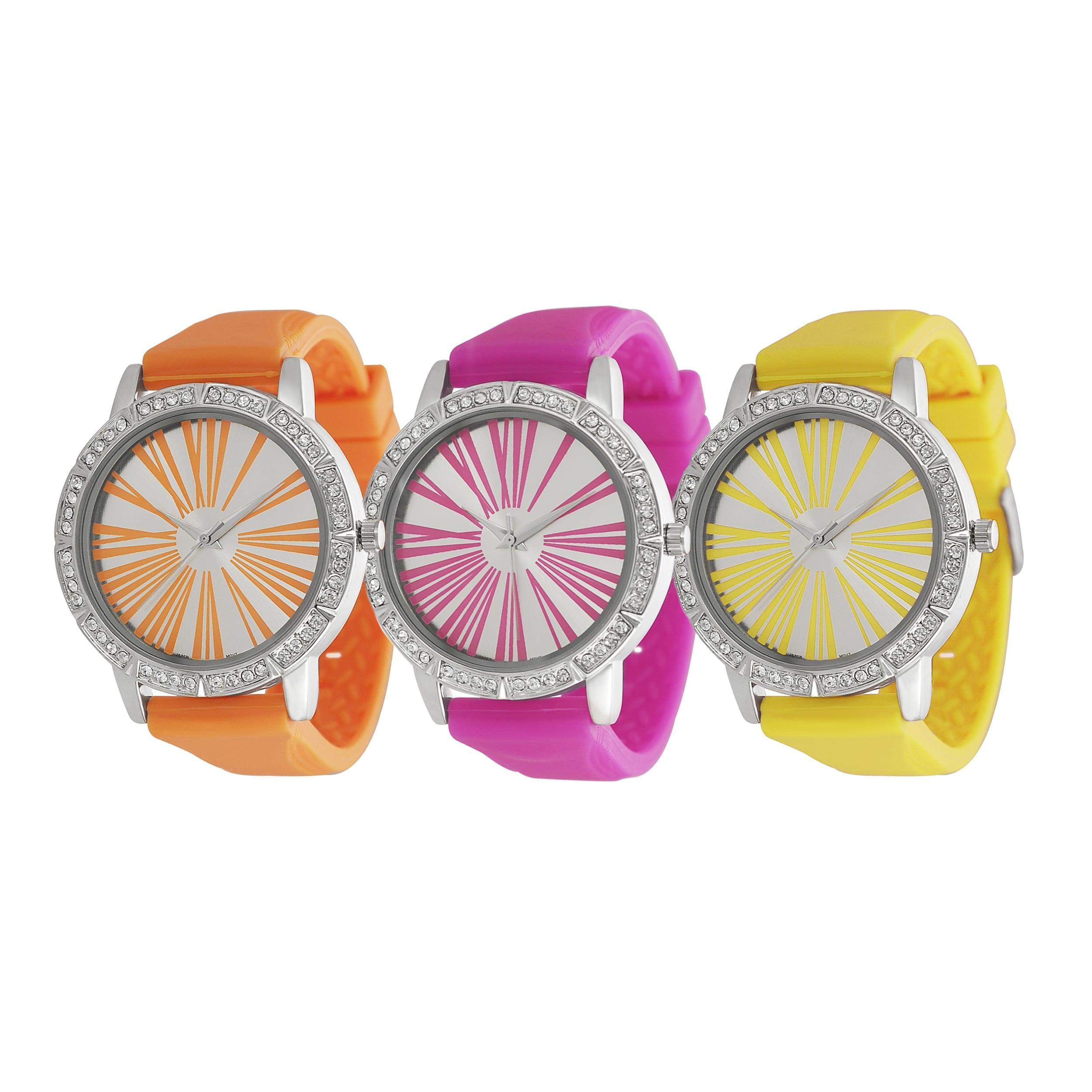 Geneva Platinum Women's Rhinestone Roman Numeral Neon Silicone Watch