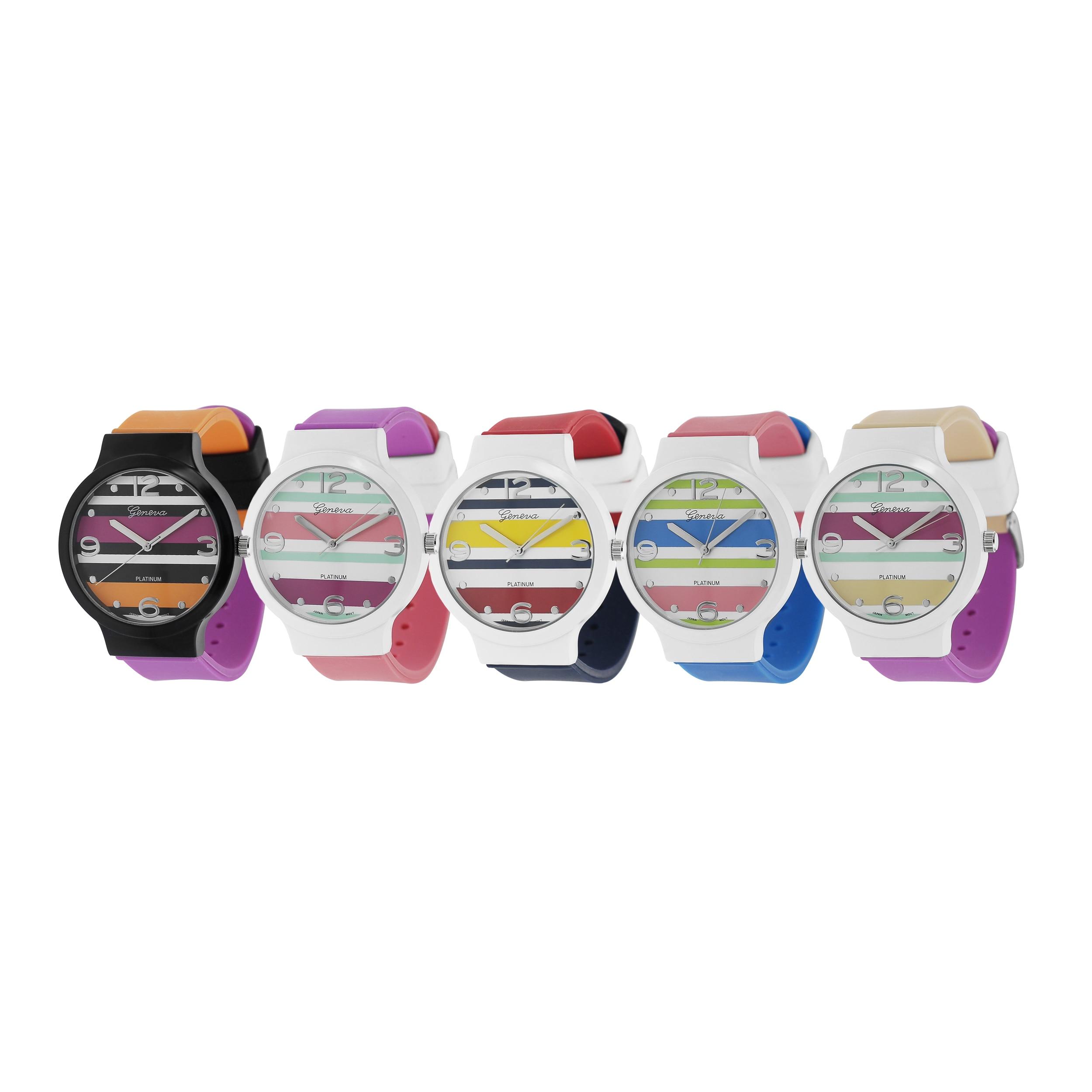 Geneva Platinum Women's Layered Stripes Silicone Watch
